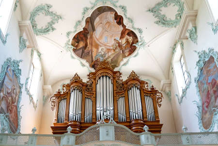 Rheinfelden, AG / Switzerland - 6 July 2020: interior view of the historic church of St. Martin in Rheinfelden with the pipe organ