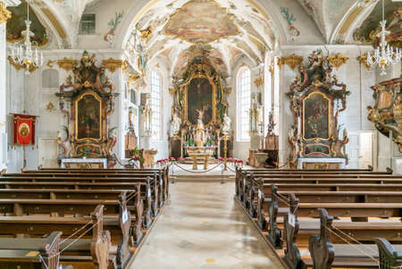 Sigmaringen, BW / Germany - 12 July 2020 : interior view of the church of St. John in Sigmaringen