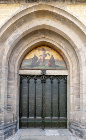 Wiitenberg, S-A / Germany - 13 September 2020: the door of the castle church door in Wittenberg where Martin Luther nailed his 95 theses in 1517