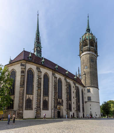 Wittenberg, S-A / Germany - 13 September 2020: view of Martin Luther's church in Wittenberg