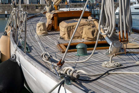 detail view of the rigging on an old classic wooden sailboat Stok Fotoğraf