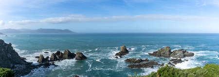 Panorama view of the wild Galician coast and cliffs at Loiba