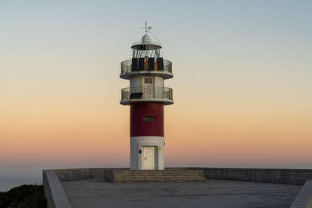 the Cabo Ortegal lighthouse on the coast of Galicia at sunrise Stok Fotoğraf