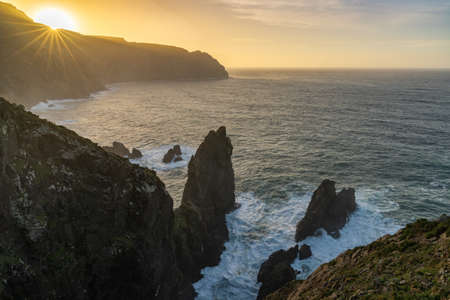 beautiful sunset on the wild rocky coast of galicia in northern Spain