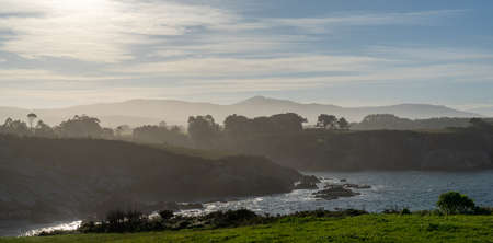 A view of the misty and rocky tree-lined shore in Galicia