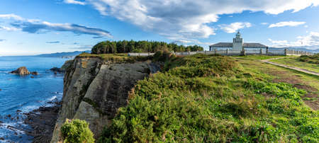 A panorama view of the Cabo de Busto lighthouse Archivio Fotografico