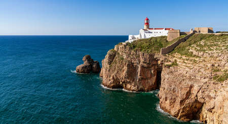 A view of the lighthouse at Cabo da Sao Vicente on the Algarve coast of Portugal