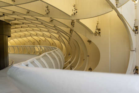 detail view of the corridors and curved wooden structure of the Metropol Parasol in Seville