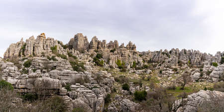 A panorama view of the El Torcal Nature Reserve in Andalusia with ist strange karst rock formations Stock fotó