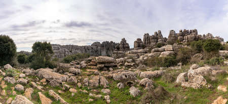 A panorama view of the El Torcal Nature Reserve in Andalusia with ist strange karst rock formations