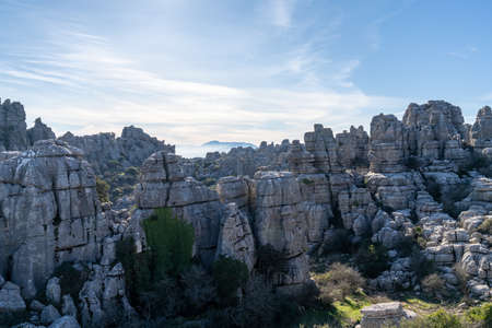 A view of the El Torcal Nature Reserve in Andalusia with ist strange karst rock formations Stock fotó