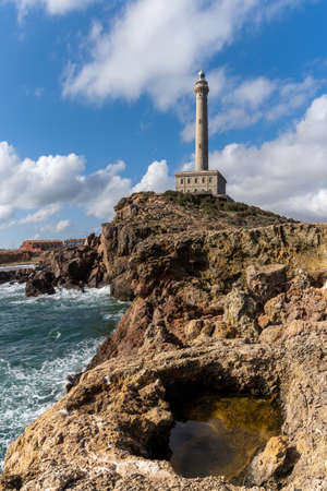 A vertical view of the lighthouse at Capo Palos in Murcia in southeastern Spain