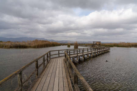 A long wooden pier and boardwalk in brackish water wetlands with esparto grass and lagoon under an overcast sky