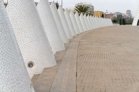 A selective focus of the Paseo del Arte promenade in the City of Arts and Sciences in Valencia