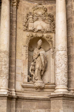 View of an architectural detail of the stone sculptures at the entrance of the cathedral of Valencia Reklamní fotografie