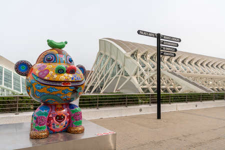 Valencia, Spain - 3 March, 2021: artwork by Hung Yi in the open exposition in the City of Arts and Sciences in Valencia Redakční