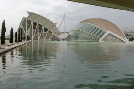 Valencia, Spain - 3 March, 2021: the iconic City of the Arts and Sciences in Valencia