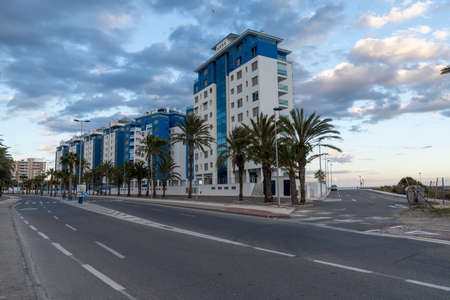 View of empty streets and modern multi-storey hotels in La Manga del Menor in Murcia