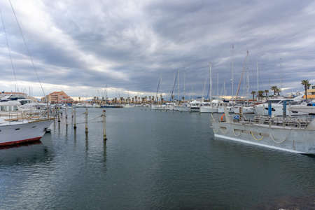 Le Barcares, France - 13 March, 2021: many boats and ships in the harbor of Port Barcares in southern France