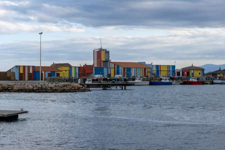 Le Barcares, France - 13 March, 2021: colorful buildings in the harbor of Le Barcares in southern France