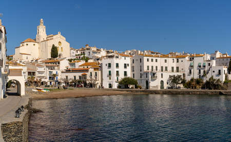 Cadaques, Spain - 13 March, 2021: view of the idyllic seaside village of Cadaques in Catalonia