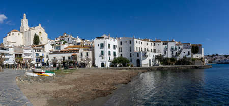Cadaques, Spain - 13 March, 2021: panorama view of the idyllic seaside village of Cadaques in Catalonia