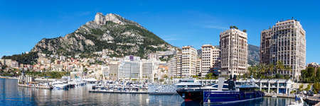 Monaco, Monaco - 17 March, 2021: panorama view of the harbor of Cape d'Ail and hotels in the Fontvielle District of Monaco