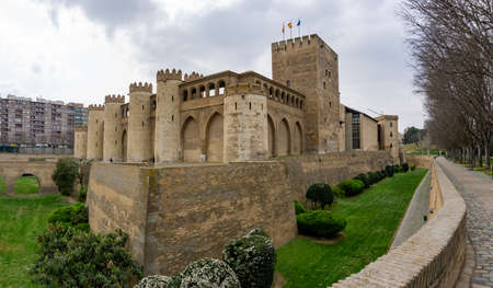 A view of the Aljaferia Palace and parlament in Zaragoza in nothern Spain Éditoriale