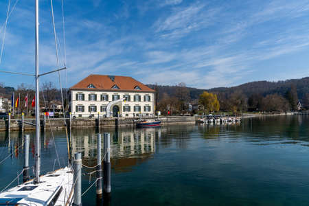 Ludwigshafen, Gerany - 31 March, 2021: view of the habor of Ludwigshafen on Lake Constance 新闻类图片