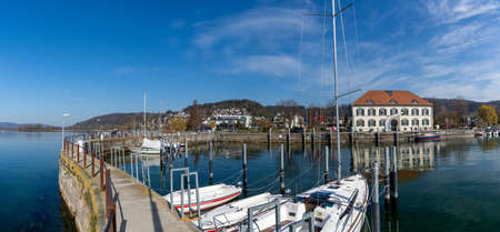 Ludwigshafen, Germany - 31 March, 2021: view of the habor of Ludwigshafen on Lake Constance