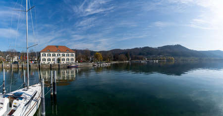 Ludwigshafen, Gerany - 31 March, 2021: panorama view of the habor of Ludwigshafen on Lake Constance 新闻类图片