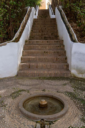 A view of the Escalera del Agua stairs in the Generalife Palace and gardens in the Alhambra 新闻类图片