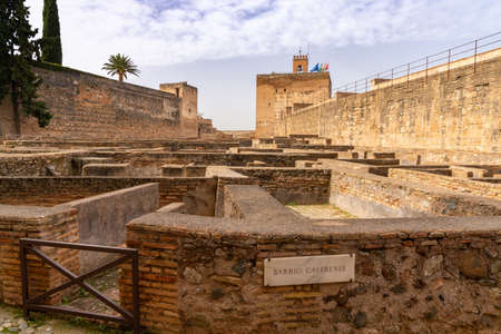 Granada, Spain - 5 February, 2021: view of the Alcazaba fortress and the Barrio Castrense in the Alhambra palace compelx in Granada 新闻类图片