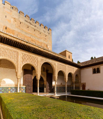 Granada, Spain - 5 February, 2021: the Patio de Arrayanes in the Nazaries Palace in the Alhambra in Granada 新闻类图片