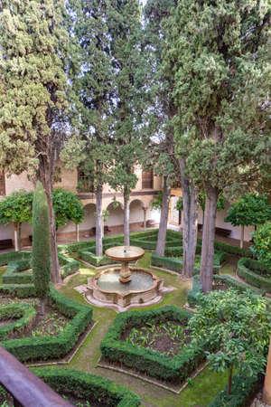 Granada, Spain - 5 February, 2021: the Jardin de Lindaraja in the Nazaries Palace in the Alhambra in Granada