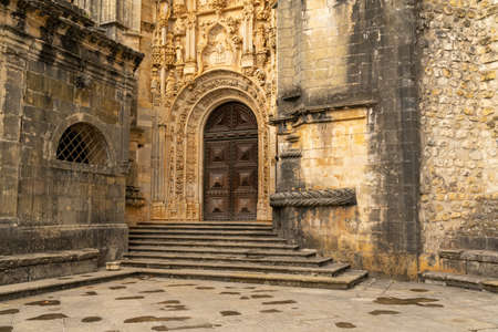 Tomar, Portugal: 8 December 2020: the Manueline entrance door to the Convent of Christ church in Tomar