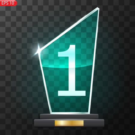 Glass Trophy Award. First place Prize plaque. Glass trophy mockup stand on clear base. Realistic vector transparent object
