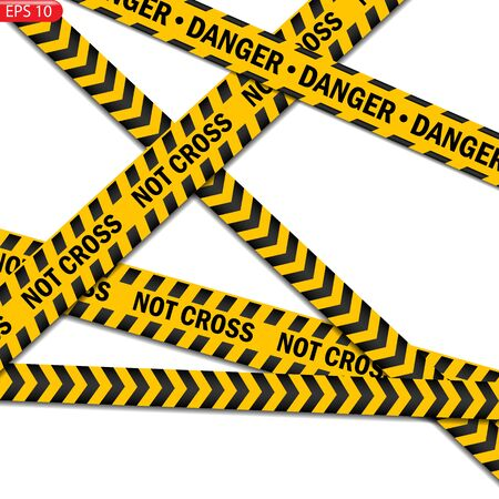 Black and color caution lines isolated. Realistic warning tapes. Danger signs. Vector background. Illustration