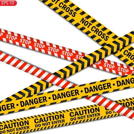 Black and color caution lines isolated. Realistic warning tapes. Danger signs. Vector background. Çizim