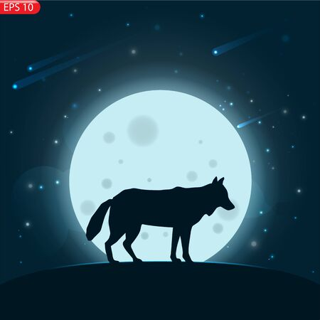 Silhouette of a deer with moonlight and stars. Night sky illustration, vector on mountain landscape-vector design.