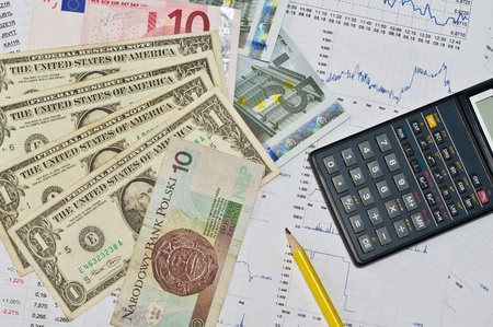 Calculator, money and graph photo