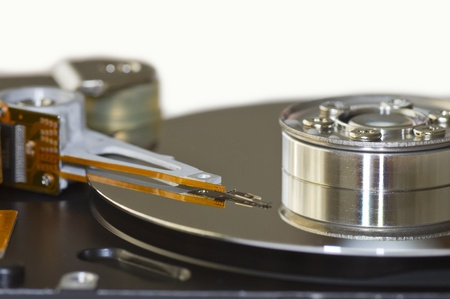 Close-up of the opened Hard Disk Drive photo