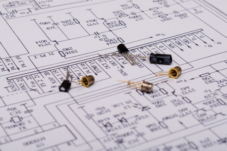 capacitor: Technical Drawing Stock Photo