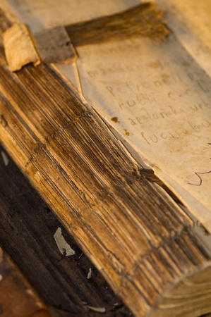 cruddy: The old book written with hand. Written about 1900 years. Stock Photo