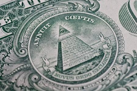 allen: De piramide en het oog op de rug van een een dollarbiljet. Stockfoto