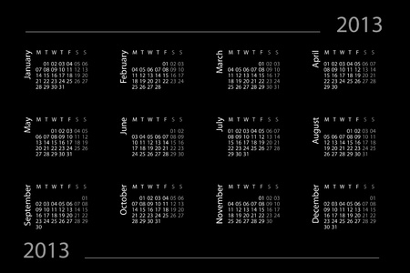 2013 year calendar on the black background photo