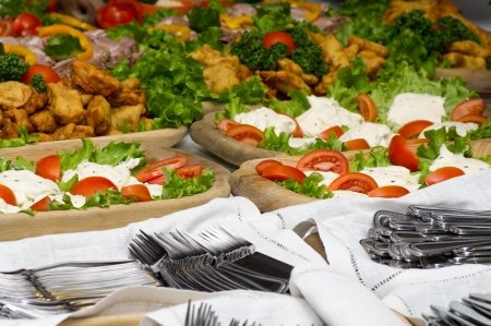 catering food: Catering food at a party. In Lithuania. Stock Photo