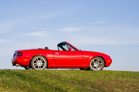 mazda: Mazda mx-5 standing on the hill springtime