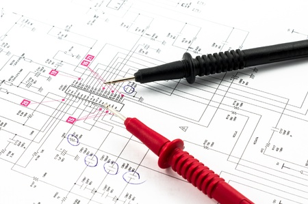 Electricity diagram  drawing or design  and pointed electrical test probes Stock Photo