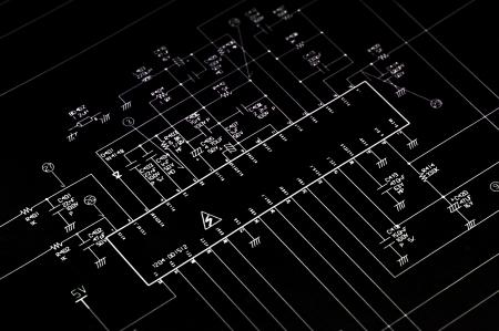 resistors: Electrical shematic diagram. Transistor, resistors, capatitors, diodes and other.